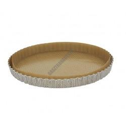 Perforált sütőforma sütőpapírral, bordázott kerek, rozsdamentes