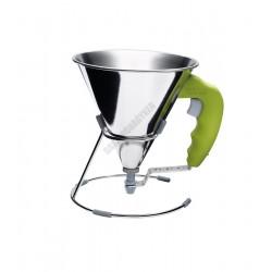 Díszítő tölcsér+állvány, mini, 0,8 liter, zöld, Kwik
