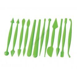 Marcipán mintázó készlet, 12 darabos, zöld