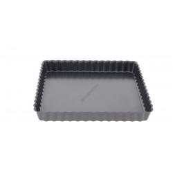 Tortaforma bordázott, ferde éllel, kivehető alap, négyzet, 18 cm