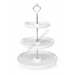 Süteményes állvány, 3 emeletes, kerek, 17,5-23,5-28,5×40 cm, porcelán