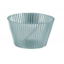 Pohárkrém-desszert tégely, bordázott átlátszó, 120 ml, 76x43 mm, műanyag