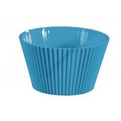Pohárkrém-desszert tégely, bordázott kék, 120 ml, 76x43 mm, műanyag