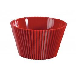Pohárkrém-desszert tégely, bordázott piros, 70 ml, 65x36 mm, műanyag