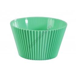 Pohárkrém-desszert tégely, bordázott zöld, 120 ml, 76x43 mm, műanyag