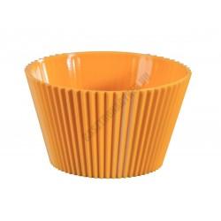 Pohárkrém-desszert tégely, bordázott sárga, 120 ml, 76x43 mm, műanyag