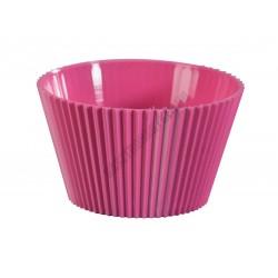 Pohárkrém-desszert tégely, bordázott fukszia, 70 ml, 65x36 mm, műanyag