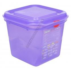 GN 1/6 150 mm (16,2x17,6x15 cm) anti-allergén ételtároló légmentesen záró fedővel 2,6 liter