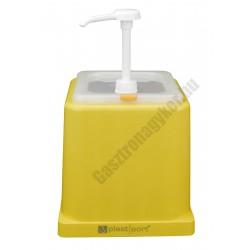 Mustár adagoló pumpás polikarbonát, sárga, 22,5×34 cm