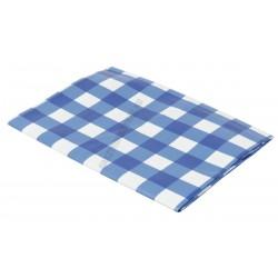 Terítő, viaszos vászon, 132×132 cm, kék kockás