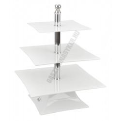 Kínáló állvány 3 emeletes, 30-25-20×39 cm, szögletes, fehér, polikarbonát