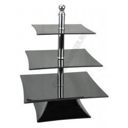 Kínáló állvány 3 emeletes, 30-25-20×39 cm, szögletes, fekete, polikarbonát
