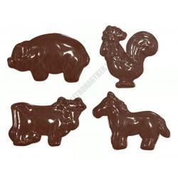 Figurás díszítő csokoládéforma (90-11210), háziállatok, 11 adag, műanyag