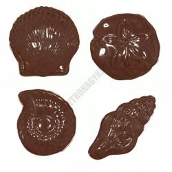 Figurás díszítő csokoládéforma (90-12817), kagylók, 18 adag, műanyag