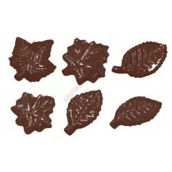 Figurás díszítő csokoládéforma (90-13064), levelek, 11 adag, műanyag