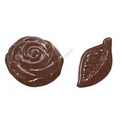 Figurás díszítő csokoládéforma (90-13069), levél és virág, 18 adag, műanyag