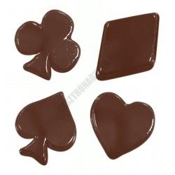 Figurás díszítő csokoládéforma (90-13414), kártyaszínek, 16 adag, műanyag