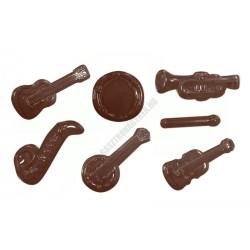 Figurás díszítő csokoládéforma (90-13912), hangszerek, 13 adag, műanyag