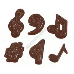 Figurás díszítő csokoládéforma (90-13915), hangjegyek, 11 adag, műanyag