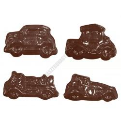 Figurás díszítő csokoládéforma (90-15331), autók, 8 adag, műanyag