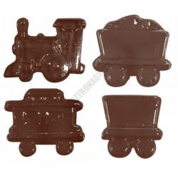 Figurás díszítő csokoládéforma (90-15332), vonat, 16 adag, műanyag