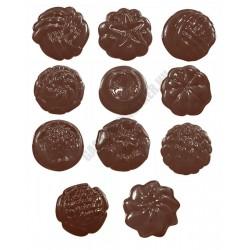 Figurás díszítő csokoládéforma (90-5111), díszes körök, 11 adag, műanyag