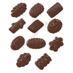 Figurás díszítő csokoládéforma (90-5112), díszes rönkök, 11 adag, műanyag