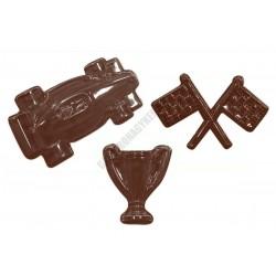 Figurás díszítő csokoládéforma (90-6804), versenyautó, 3 adag, műanyag