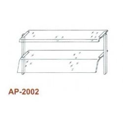 Kétsoros átadó hajlított üveggel, leheletvédővel 1500 mm-es pulthoz AP-2002 1500