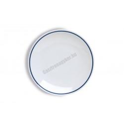 Gasztro lapostányér, 26 cm, kék csíkos porcelán