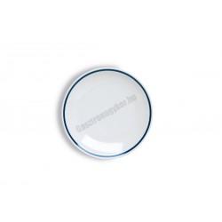 Gasztro lapostányér, 20 cm, kék csíkos porcelán