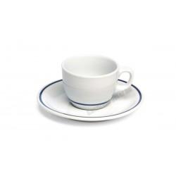 Gasztro teáscsészealj, 16 cm, kék csíkos porcelán