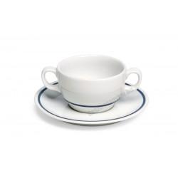 Gasztro reggelizőcsészealj, 18 cm, kék csíkos porcelán