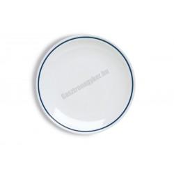 Gasztro lapostányér, 28 cm, kék csíkos porcelán
