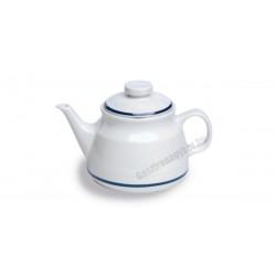 Gasztro teáskanna, 470 ml, kék csíkos porcelán