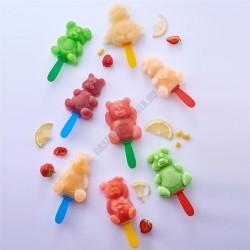 Jégkrémforma pálcikákkal, 8x10 adag, állatok, műanyag
