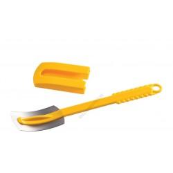 Kenyérmintázó kés, hajlított penge, sárga nyél