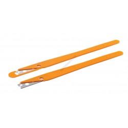 Kenyérmintázó kés, egyenes, sárga nyél
