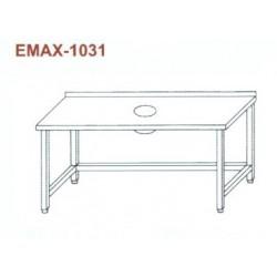Munkaasztal hulladékledobó nyílással, lábösszekötővel, hátsó felhajtással Emax-1031 KR 1300×700×850