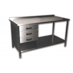 Munkaasztal alsó polccal, 3db fiókkal, hátsó felhajtással Emax-1050 KR 1300×700×850