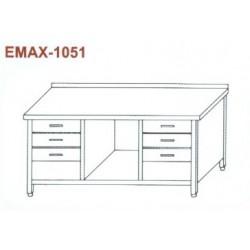 Munkaasztal alsó polccal, 2x3db fiókkal, hátsó felhajtással Emax-1051 KR 1500×700×850