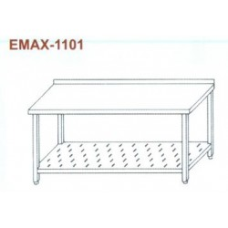 Munkaasztal perforált alsó polccal, hátsó felhajtással Emax-1101 KR 1100×700×850