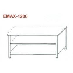 Munkaasztal 3 oldalon zárt, elől nyitott, alsó és közbenső polccal Emax-1200 KR 1300×700×850