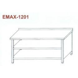 Munkaasztal 3 oldalon zárt, elől nyitott, alsó és közbenső polccal,hátsó felhajtással Emax-1201 KR 1300×700×850