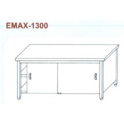 Munkaasztal 3 oldalon zárt, elől tolóajtó, alsó és közbenső polccal Emax-1300 KR 1000×700×850
