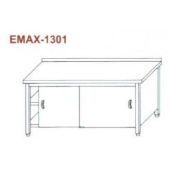 Munkaasztal 3 oldalon zárt, elől tolóajtó, alsó és közbenső polccal, hátsó felhajtással Emax-1301 KR 1300×700×850