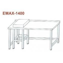 Munkaasztal hústőkével, lábösszekötővel, hátsó felhajtással Emax-1400 KR 1300×700×850