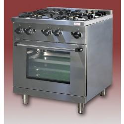 Gáztűzhely, 4égő+GN1/1sütő 1rács+1sima v. bordás sütőlap GT-41 3