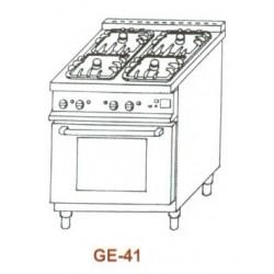 Gáz-elektromos tűzhely, 4 égő,GN1/1el.sütő, 2 ráccsal GE-41 1