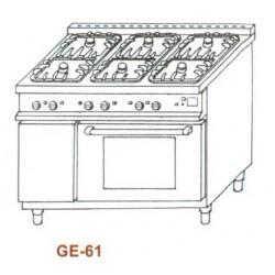 Gáz-elektromos tűzhely, 6 égő,GN1/1el.sütő, 3 ráccsal GE-61 1